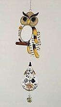Fensterbild Tiffany-Art Eule mit Lichtmühle