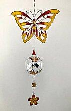 Fensterbild Tiffany-Art Schmetterling gelb/rot mit