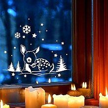 Fensterbild Wandtattoo REH im Schnee Gr XL 60x27cm