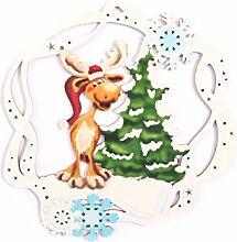 Fensterbild Weihnachten Schneerahmen Elch mit
