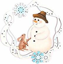 Fensterbild Weihnachten Schneerahmen Schneemann