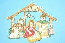 Fensterbild Weihnachtskrippe aus Plauener Spitze®