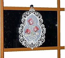 Fensterbild Weiß 26x35 cm Plauener Spitze Voile