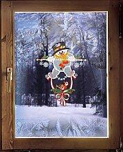 Fensterbild / Windspiel DICKER SCHNEEMANN 24 x 33 cm (BxH) echte Plauener Spitze ® inkl. Saughaken / weihnachtliche Fensterdekoration