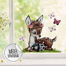 Fensterbilder Fensterbild Fuchs Reh & Hasen mit