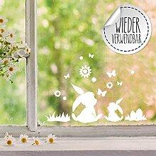Fensterbilder Fensterbild Hase Reh Blumen