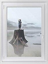Fensterdeko - hochwertiges Fenster-bild | selbsthaftende Glasdekorfolie für Fenstergestaltung in Bad, Küche, Wohnzimmer und Schlafzimmer | einfach anzubringen | Design Gedankengang - 70 x 100 cm