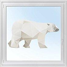 Fensterdeko - Tattoo Fenster-Folie für Kinderzimmer | hochwertiges Fensterbild - selbstklebende Glasdekorfolie | Klebefolie für Fenster - Glas-Tattoo | Design Origami Polar Bear - 120 x 69 cm