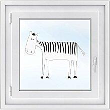 Fensterdeko - Tattoo Fenster-Folie für Kinderzimmer | hochwertiges Fensterbild - selbstklebende Glasdekorfolie | dekorative Klebefolie für Fenster - Glas-Tattoo | Design Herr Zebra - 50 x 40 cm