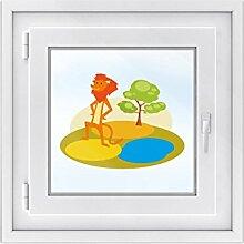 Fensterdeko - Tattoo Fenster-Folie für Kinderzimmer | hochwertiges Fensterbild - selbstklebende Glasdekorfolie | dekorative Klebefolie für Fenster - Glas-Tattoo | Design Löwenrevier - 40 x 30 cm