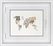 Fensterfolie - Fensterbild | hochwertige Fenster-deko - Folie für Fenster | dekorativer Fenstersticker - Fensteraufkleber | statisch haftende PVC-Sticker | Design World Map - Braun - 50 x 40 cm