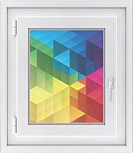 Fensterfolie - Fensterbild | hochwertige Fenster-deko - Folie für Fenster | dekorativer Fenstersticker - Fensteraufkleber | statisch haftende PVC-Sticker | Fensterfolie 40 x 50 cm - Colored Cubes