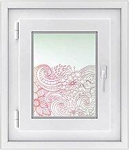 Fensterfolie - Fensterbild | hochwertige Fenster-deko - Folie für Fenster | dekorativer Fenstersticker - Fensteraufkleber | statisch haftende PVC-Sticker | Fensterfolie 30 x 40 cm - Floral Doodle