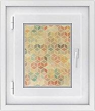 Fensterfolie - Fensterbild | hochwertige Fenster-deko - Folie für Fenster | dekorativer Fenstersticker - Fensteraufkleber | statisch haftende PVC-Sticker | Design 3D Retro Pattern - 30 x 40 cm