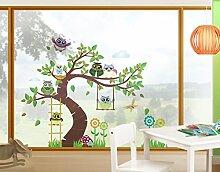Fensterfolie - Fenstersticker No.YK23 Lustiger Eulenbaum - Fensterbilder Fenstersticker Fensterfolie Fenstertattoo Fensterbild Fenster-Deko Fensteraufkleber Fensterdekoration Glas-Sticker Größe: 90cm x 111cm