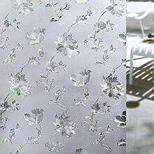Fensterfolie Flower Static Cling Frosted Datenschutz Fenster Filme Glasfilm Silber Hibiskus Muster (60 X 400cm)