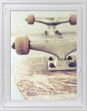 Fensterfolie | Hochwertiges Fenster-Bild - selbsthaftende Klebefolie für Fenster in Küche, Bad und Wohnzimmer | dekorative Sichtschutzfolie für Fenster | Fensterfolie 90 x 120 cm - Motiv Skateboard