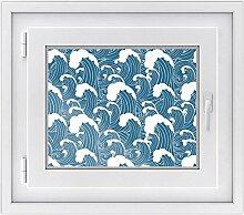 Fensterfolie | Hochwertiges Fenster-Bild - selbsthaftende Klebefolie für Fenster in Küche, Bad und Wohnzimmer | dekorative Sichtschutzfolie für Fenster | Fensterfolie 50 x 40 cm - Design Große Welle