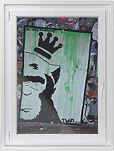 Fensterfolie | Hochwertiges Fenster-Bild - selbsthaftende Klebefolie für Fenster in Küche, Bad und Wohnzimmer | dekorative Sichtschutzfolie für Fenster | Fensterfolie 70 x 100 cm - Crowned Ape