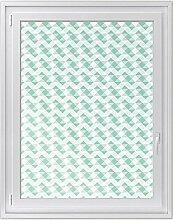 Fensterfolie | Hochwertiges Fenster-Bild - selbsthaftende Klebefolie für Fenster in Küche, Bad und Wohnzimmer | Sichtschutzfolie für Fenster | Design Triangle Pattern - Pastellgrün - 90 x 120 cm