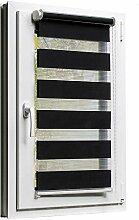 Fensterrollo Duo-Rollo 120 x 150 cm Schwarz - Sonnenschutz mit Kettenzug und Klemmfix - Leisten in Weiss - inkl. Zubehör - Größe wählbar