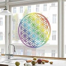 Fenstersticker Blume des Lebens Regenbogenfarbe Kinderzimmer Mädchen Einhörner Fenstersticker Fensterfolie Fenstertattoo Fensterbild Fenster-Deko Fensteraufkleber Fensterdekoration Glas-Sticker Größe: 50cm x 50cm
