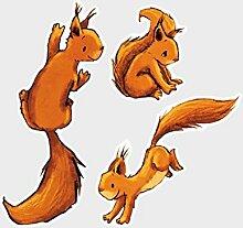 Fenstersticker Drei Einhörnchen Kinderzimmer