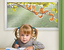 Fenstersticker Einhörnchen jubeln Kinderzimmer
