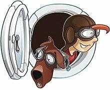 Fenstersticker Fliegender Bauernhof Junge und Hund