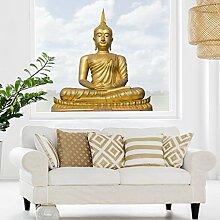 Fenstersticker Goldener Buddha Fenstersticker Fensterfolie Fenstertattoo Fensterbild Fenster-Deko Fensteraufkleber Fensterdekoration Glas-Sticker Größe: 100cm x 100cm
