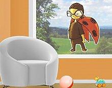 Fenstersticker Marienkäfer Kurt Kinderzimmer Mikropolis Käfer Insekten Fabel Fenstersticker Fensterfolie Fenstertattoo Fensterbild Fenster-Deko Fensteraufkleber Fensterdekoration Glas-Sticker Größe: 103cm x 70cm