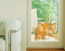Fenstersticker No.10 lustiger Elefant afrika elefant grau groß Fenstersticker Fensterfolie Fenstertattoo Fensterbild Fenster-Deko Fensteraufkleber Fensterdekoration Glas-Sticker Größe: 24cm x 30cm