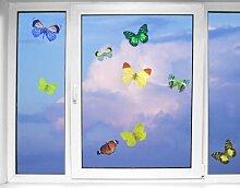 Fenstersticker No.32 Schmetterlinge Set1 Tiere Schmetterlinge fliegen flattern Fenstersticker Fensterfolie Fenstertattoo Fensterbild Fenster-Deko Fensteraufkleber Fensterdekoration Glas-Sticker Größe: 60cm x 90cm