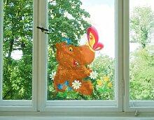 Fenstersticker No.46 Nilpferd Tiere wasser nilpferd Schmetterling Sommer Fenstersticker Fensterfolie Fenstertattoo Fensterbild Fenster-Deko Fensteraufkleber Fensterdekoration Glas-Sticker Größe: 30cm x 26cm