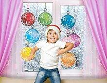 Fenstersticker No.485 Weihnachtskugeln Weihnachten Kugeln Baum Bunt Muster Fenstersticker Fensterfolie Fenstertattoo Fensterbild Fenster-Deko Fensteraufkleber Fensterdekoration Glas-Sticker Größe: 33cm x 45cm