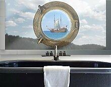 Fenstersticker No.654 Piraten in Sicht Bullauge Schiff Piraten Meer Urlaub, Fenstersticker, Fensterfolie, Fenstertattoo, Fensterbild, Fenster-Deko, Fensteraufkleber, Fensterdekoration, Glas-Sticker