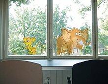 Fenstersticker No.67 Maus & Elefant tiere wasser elefant maus grau Fenstersticker Fensterfolie Fenstertattoo Fensterbild Fenster-Deko Fensteraufkleber Fensterdekoration Glas-Sticker Größe: 74cm x 145cm