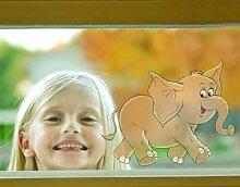 Fenstersticker No.9 spaßiger Elefant kinder tiere