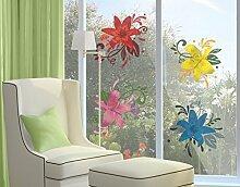 Fenstersticker No.BP20 Lilientraum Set Lilie Ornament Blumen Fenstersticker Fensterfolie Fenstertattoo Fensterbild Fenster-Deko Fensteraufkleber Fensterdekoration Glas-Sticker Größe: 21cm x 21cm