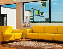 Fenstersticker No.CG93 Optical Optik Retro Objekt Farbe Style Fenstersticker Fensterfolie Fenstertattoo Fensterbild Fenster-Deko Fensteraufkleber Fensterdekoration Glas-Sticker Größe: 50cm x 50cm
