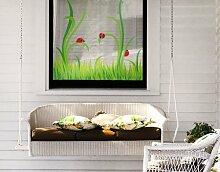 Fenstersticker No.EG27 Marienkäfer Marienkäfer Käfer Sommer Gras Wiese Fenstersticker Fensterfolie Fenstertattoo Fensterbild Fenster-Deko Fensteraufkleber Fensterdekoration Glas-Sticker Größe: 29cm x 31cm