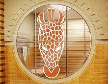 Fenstersticker No.IS38 Giraffen Maske Afrika Savanne Zulu Massai Tier, Fenstersticker, Fensterfolie, Fenstertattoo, Fensterbild, Fenster-Deko, Fensteraufkleber, Fensterdekoration, Glas-Sticker, Farbe: Pink