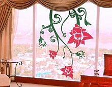 Fenstersticker No.TA41 Extraterrestrial Flowers pflanze ornament floral blume Fenstersticker Fensterfolie Fenstertattoo Fensterbild Fenster-Deko Fensteraufkleber Fensterdekoration Glas-Sticker Farbe: Braun; Größe: 110cm x 85cm