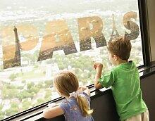 Fenstersticker No.TM137 PARIS Paris Liebe Eifelturm Seine Frankreich Fenstersticker Fensterfolie Fenstertattoo Fensterbild Fenster-Deko Fensteraufkleber Fensterdekoration Glas-Sticker Größe: 32cm x 122cm