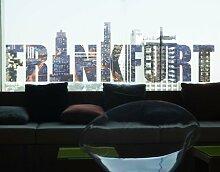 Fenstersticker No.TM146 Frankfurt Frankfurt metropolen städte stadt reisen Fenstersticker Fensterfolie Fenstertattoo Fensterbild Fenster-Deko Fensteraufkleber Fensterdekoration Glas-Sticker Größe: 80cm x 272cm