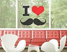 Fenstersticker No.YK25 I Love Moustache Wandtattoo Bart Liebe Sprüche Herz Cool, Fenstersticker, Fensterfolie, Fenstertattoo, Fensterbild, Fenster-Deko, Fensteraufkleber, Fensterdekoration, Glas-Sticker