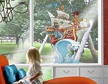 Fenstersticker Piratenschiff Fliegender Bauernhof Kinderzimmer Märchen Wellen Fenstersticker Fensterfolie Fenstertattoo Fensterbild Fenster-Deko Fensteraufkleber Fensterdekoration Glas-Sticker Größe: 67cm x 50cm