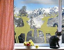 Fenstertattoo No.1222 Rentier Paar Hirsche