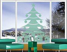 Fenstertattoo No.1227 Bescherung Weihnachten Weihnachtsmann Geschenke | Glasdekorfolie selbstklebend Milchglasfolie 5 Farben Fensterfolie Klebefolie Glasdekorfolie Sichtschutz Blickschutz Milchglas Fenster Bad Farbe: Sparkling Yellow; Größe: 60cm x 48cm