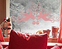 Fenstertattoo No.1232 Engelsornament Weihnachten Sterne Weihnachtsbaum Winter | Glasdekorfolie selbstklebend Milchglasfolie 5 Farben Fensterfolie Klebefolie Glasdekorfolie Sichtschutz Blickschutz Milchglas Fenster Bad Farbe: Romantic Rose; Größe: 25cm x 55cm